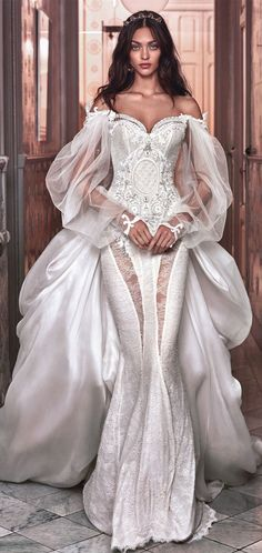 Off the shoulder sweetheart neckline Victorian mermaid wedding gown #wedding #weddingdress #weddinggowns