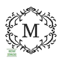 Instant Download Cross Stitch Monogram Pattern black Monogram Initial Alphabet M letter M Gift Home Decor House Warming Wedding Anniversary
