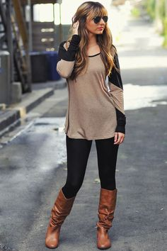 Lazy Day Top: Tan/Midnight Black   Hope's