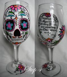 "Learn how to ""Reverse Paint"" a wine glass so that it looks like the paint is inside the glass even though it's not."