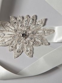 Fairy Wren belt - Delicate silver thread woven petals with a sparkling crystal centre  is complimented by the satin ribbon.  This vintage inspired belt is lovingly made in our London studio.