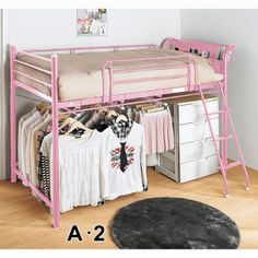 Nissen - shorter loft bed with underbed hanging storage