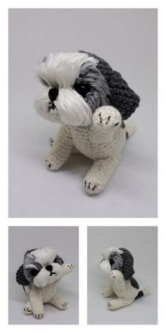 Amigurumi Small Dog Free Pattern Knitting Patterns Free Dog, Crochet Dolls Free Patterns, Amigurumi Patterns, Cute Crochet, Crochet Crafts, Crochet Toys, Crochet Projects, Crochet Animals, Crocheting