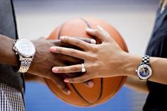basketball engagement picture- I could do this with a soccer ball or football Basketball Engagement Photos, Basketball Wedding, Sports Wedding, Love And Basketball, Wedding Pics, Engagement Pictures, Engagement Shoots, Wedding Engagement, Basketball Court