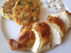 Gordon Ramsay's sweetcorn fritter, yoghurt dip and roasted chicken interpretation (kukoricalepény joghurtos öntettel és sült csirkével)