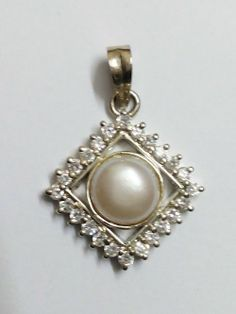Pearl and Cubic Zirconias 925 Sterling Silver Pendant~Engagement/Wedding Gift