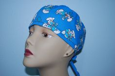 Tie Back Scrub Cap Doctor Smurf /Euro / Chemo/ Chef/ Vet/ Chef/ Alopecia/ Surgical Uniform by Hot Headz by hotheadzscrubcaps on Etsy Stylish Scrubs, Scrub Caps, Tie Backs, One Size Fits All, Euro, Hats, Fabric, Fashion, Tejido