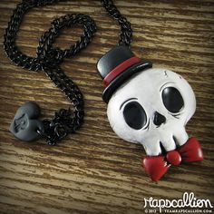 Gentleman Skull Necklace by rapscalliondesign on Etsy, $20.54