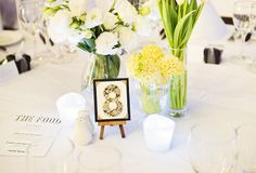 Table Decorating Idea : Boquets of fresh florals + table number sitting on a teeny tiny easel!
