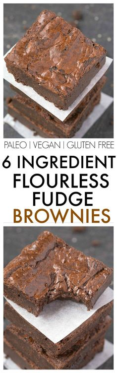Flourless Fudge Brownies using just 6 EASY ingredients and a huge favorite- SO much better than any boxed mix! NO butter or flour at all! {vegan, gluten free, paleo recipe}- http://thebigmansworld.com