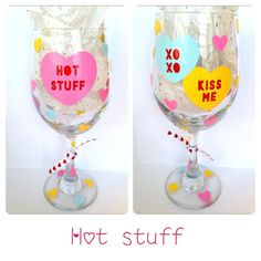 Valentine's Day Wine Glass Hot Stuff..can by CreateBeautywithLove, $20.00