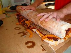This Goliath is a bacon steak pizza burrito...I think I just died and went to heaven...