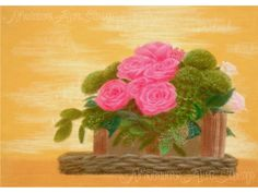 Items similar to Floral painting Original Pastel Drawing: Flower Basket; flower painting rose painting flower basket Interior decorating on Etsy Pastel Drawing, Flower Basket, Valentine Gifts, Original Paintings, Greeting Cards, Wall Art, The Originals, Rose, Drawings