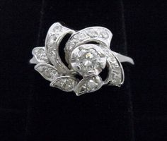 Custom Vintage Diamond Ring 1/2CT Total in Solid 14K White Gold, Origin 1940's #Freeform