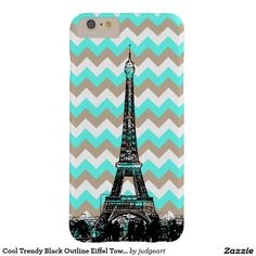 Cool Trendy Black Outline Eiffel Tower on Chevrons Barely There iPhone 6 Plus Case. #iphones #iphonecases #phonecases #paris #france #chevrons #eiffeltower