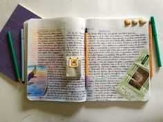 Clippings and ephemera added to written journal pages   The Journal Club
