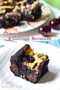 Easy Brownie Recipe with Chocolate Cherries & Coconut Swirls! | ASpicyPerspective.com #brownies #fall #chocolate