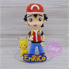 Topo de Bolo Ash e Pikachu - Pokémon | Paty s Biscuit | Elo7