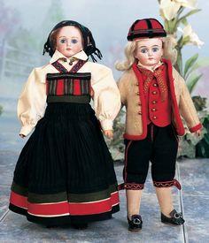 Pair,German Bisque Dolls in Original Folklore Costumes by Kling
