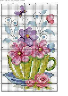 """Punto cruz """"flowers in tea cup cross stitch pattern"""", """"Teacup and Butterflies cross stitch"""", """"nice cup of."""", """"This post w Cross Stitch Cards, Counted Cross Stitch Patterns, Cross Stitch Designs, Cross Stitching, Cross Stitch Embroidery, Embroidery Patterns, Hand Embroidery, Butterfly Cross Stitch, Cross Stitch Flowers"""