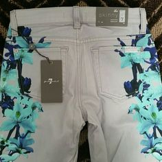 NWT 7 FOR ALL SKINNY JEANS SIZE 23/24/25 Brand new with tags gorgeous Rare and Authentic Seven for All Mankind Skinny Second Skin Legging Jeans in a beautiful light gray and super flattering floral pattern.  Size is a 23 but it's stretchy enough to fit someone who wears a Size 24 or even a small 25!!  Such an amazing look!!!  I wish these fit me!!  97% Cotton and 3% Spandex for that perfect fit.  These retail for $225! 7 for all Mankind Jeans Skinny