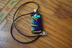 Dichroic glass pendant necklace jewelry fashion by HarrachGlass, $35.00