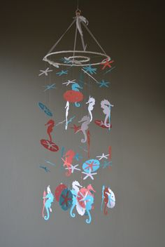 Custom order for Andrea - Nursery mobile / baby nautical mobile made with white, aqua and coral seahorses, sand dollars and sea stars door SierGoed op Etsy