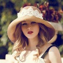 Chapeau de paille pas cher chapeau femme capeline anti UV disposant de large bord cloche ornée de dentelle autour