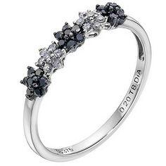 Ernest Jones  9ct white gold white & black treated diamond flower ring - Product number 9275142  £250