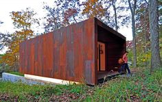 Studio for a Composer by Johnsen Schmaling Architects « Inhabitat – Green Design, Innovation, Architecture, Green Building Wisconsin, Building Skin, Green Building, Dark Landscape, Weathering Steel, Small Space Design, Exposed Concrete, Corten Steel, Prefab