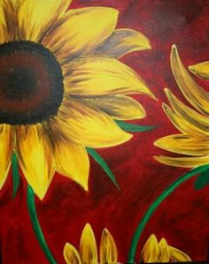 Go to the one in Cape Coral. Sunflower on Red - Sarasota, FL Painting Class - Painting with a Twist Sunflower Art, Sunflower Paintings, Kunst Poster, Autumn Painting, Paint Party, Learn To Paint, Pictures To Paint, Painting Inspiration, Painting & Drawing