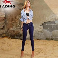 The new sapphire blue winter was thin waist pencil pants feet jeans female trousers Ms.