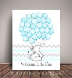 Chevron Elephant Baby Shower Guest Book Alternative, or other colors! Baby Shower, Birthday, Baptism - Balloon Sign In Elephant Baby Showers, Baby Elephant, Baby Shower Balloons, Birthday Balloons, Elephant Balloon, Custom Balloons, Guest Book Alternatives, A Table, Book Art