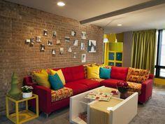Modern | Living Rooms | Erinn Valencich : Designer Portfolio : HGTV - Home & Garden Television. Different couch cushions.