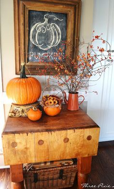 Fall vignette - love the chalkboard and cutting table! Common Ground: Vintage Inspiration #108 A Kitchen Remodel and Reveal