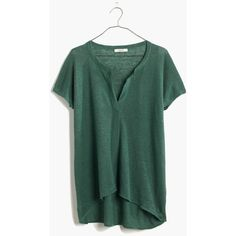 MADEWELL Linen Interlude Sweater in Meadow Green ($68) ❤ liked on Polyvore featuring tops, sweaters, meadow green, green top, drape top, madewell, drapey top e linen tops