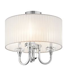 $332.64 17.75H x 17Dia 3x 60watts See matching sconce (also Pinned) Chrome finish, can be hung as semi flush mount or on provided chain.  42630CH Parker Point 3LT Convertible Fixture, Polished Chrome Finish and Organza Fabric Shade and K9 Optical Crystal Accents Kichler Lighting http://www.amazon.com/dp/B004NXX4OE/ref=cm_sw_r_pi_dp_Wb2vwb0V9CXHG