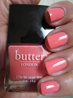 """butter LONDON Trout Pout...described as """"an opaque shade of cantaloupe, pale and retro"""". This description is also perfect...it is also a nice vibrant color as well. I may not like actual cantaloupe, but I love me some Trout Pout. It just screams summertime to me."""