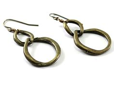 Circle brass earrings, handmade $23.00