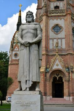 "A statue of Szent Laszlo in front of church - A statue in front of ""Szent László"" church at Kőbánya, Budapest, Hungary"
