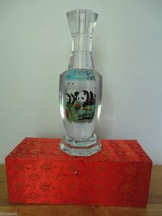 Beautiful Hand-Painted Crystal Panda Reverse Painting Collectible Vase w/Case