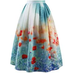 Chicwish Poppy Flower Print Midi Skirt ($48) ❤ liked on Polyvore
