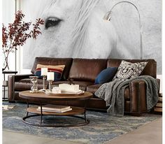 Pottery Barn: Turner Square Arm Leather Sofa With Nailheads by Williams-Sonoma, Inc. To The Trade | Supple leather lends an earthy warmth to this collection. #design #interiordesignmagazine #interiordesign #products #seating