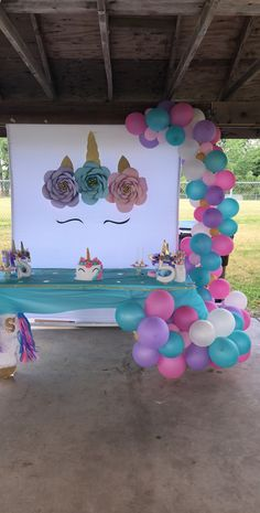 Outside Birthday Parties, Birthday Party At Park, Unicorn Themed Birthday Party, Birthday Party Decorations, Diy Unicorn Party, 5th Birthday, Birthday Ideas, Unicorn Baby Shower, Maya