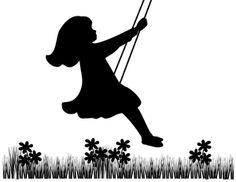 baby girl silhouette | VINTAGE GIRLS BLACK SILHOUETTE FLORAL BABY NURSERY WALL BORDER ...