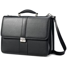 Samsonite Leather Flapover Briefcase (530 BRL) ❤ liked on Polyvore featuring bags, briefcases and black