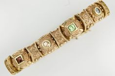 Retired-Designer-Sterling-Silver-Gold-Gilt-Silpada-Aquamarine-Amethyst-Bracelet