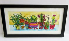 Cactus Plants in Jazzy Pots Watercolour Painting