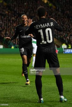 Kylian Mbappe of PSG celebrates scoring his sides second goal with Neymar of PSG during the UEFA Champions League Group B match between Celtic and Paris Saint Germain at Celtic Park on September 12, 2017 in Glasgow, Scotland.
