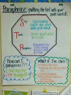 STP strategy for Paraphrasing Anchor Chart. Students can sometimes struggle with paraphrasing and summarizing. This is a helpful tool for them to use when it comes to paraphrasing 6th Grade Ela, 4th Grade Writing, 4th Grade Reading, Teaching Writing, Guided Reading, Fourth Grade, Thesis Writing, Kindergarten Writing, Reading Lessons